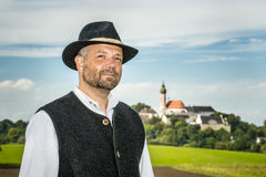 Traditional Bavarian man with Andechs Stock Photo