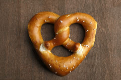 Traditional bavarian pretzel formed as a heart Royalty Free Stock Photography