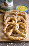 Traditional Bavarian Pretzel Snacks with Mustard Royalty Free Stock Photography