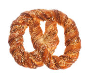 Traditional Bavarian pretzel on a white background Stock Photos