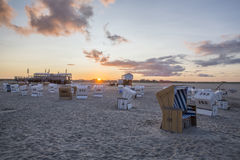 Traditional beach baskets or hooded beach chairs at nothern Germany Stock Photography