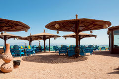 Traditional beach restaurant. At the egyptian seascape Royalty Free Stock Photos