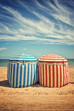 Traditional beach umbrellas in Deauville Royalty Free Stock Images