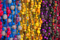 Traditional Beads. Hanging beads in craft market, Ecuador Stock Images