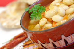 Traditional bean soup. Bean soup in a traditional cup Royalty Free Stock Photo
