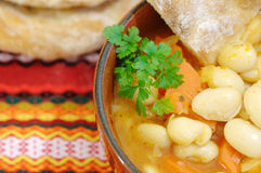 Traditional bean soup. Bean soup in a traditional cup Stock Image
