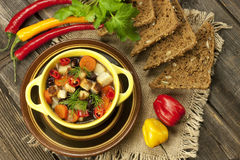 Traditional bean soup in the bowl Stock Photos