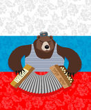 Traditional bear Russia. Russian pattern background. Play an ins Royalty Free Stock Images