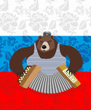 Traditional bear Russia. Russian pattern background. Royalty Free Stock Photo