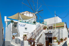 Traditional beautiful restaurant in Thira town on Santorini island. Royalty Free Stock Images