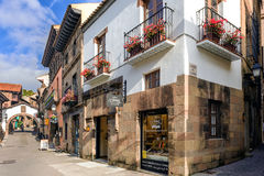 Traditional beautiful street of medieval Spanish village at Barcelona town, Catalonia, Spain Royalty Free Stock Photos