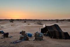 Traditional bedouin tent, desert of Sahara Stock Photos
