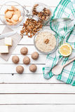 Traditional bee nest cake on wooden background Stock Images