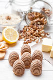 Traditional bee nest cake on wooden background Royalty Free Stock Photos