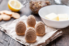 Traditional bee nest cake on wooden background Stock Image