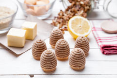 Traditional bee nest cake on wooden background Stock Photos