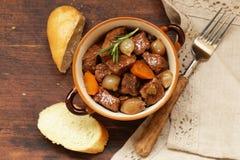 Traditional  beef goulash - Boeuf bourguigno. Comfort food. Royalty Free Stock Image