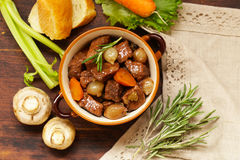 Traditional  beef goulash - Boeuf bourguigno. Comfort food. Royalty Free Stock Images