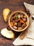 Traditional  beef goulash - Boeuf bourguigno. Comfort food. Stock Photo