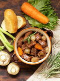 Traditional  beef goulash - Boeuf bourguigno. Comfort food. Royalty Free Stock Photos