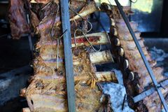 Traditional argentinian asado barbeque from argentina tradition bbq from Argentine brazil paraguay uruguay and chile. Traditional beef rubs barbecue with stock images