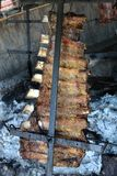 Traditional argentinian asado barbeque from argentina tradition bbq from Argentine brazil paraguay uruguay and chile. Traditional beef rubs barbecue with royalty free stock photography