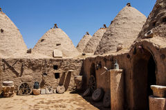 Traditional beehive mud brick houses Stock Photo