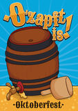 Traditional Beer Barrel Opening for Oktoberfest, Vector Illustration. Traditional beer barrel opening with the mallet to begin the Oktoberfest celebration with Royalty Free Stock Photos