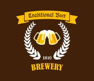 Traditional Beer emblem or label Royalty Free Stock Photo