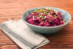 Traditional Beetroot Salad Vinegret Dressed with Mayonnaise Stock Photography