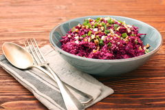 Traditional Beetroot Salad Vinegret Dressed with Mayonnaise Royalty Free Stock Image