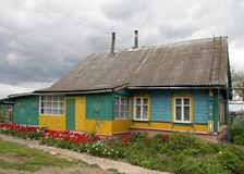 Traditional Belarusian village wooden house stock images