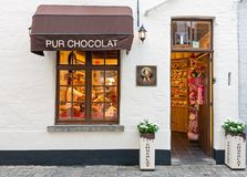 Traditional Belgian chocolate store entrance in Belgium stock images