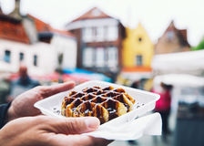 Traditional Belgian dessert, pastry - Belgium tasty waffle with Royalty Free Stock Photos