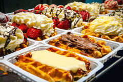 Traditional belgian waffles selling at corner bakery Royalty Free Stock Photography