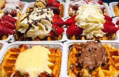 Traditional belgian waffles selling at corner bakery Royalty Free Stock Image