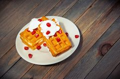 Traditional Belgian waffles Royalty Free Stock Images