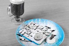 Traditional belgium soft fresh waffles with a decor on a plate a Royalty Free Stock Photo