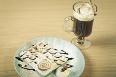 Traditional belgium soft fresh waffles with a decor on a plate a Stock Image