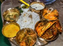 Traditional Bengali Food. Served in ceremonious occasion royalty free stock images