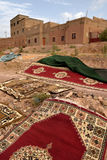 Traditional berber carpets drying in open air Royalty Free Stock Photo