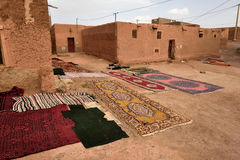 Traditional berber carpets drying in open air Stock Image