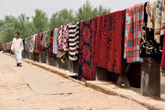 Traditional berber carpets drying in open air Royalty Free Stock Photography