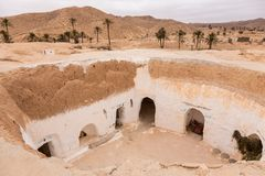Traditional berber house in desert, Tunisia Royalty Free Stock Images