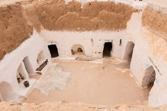 Traditional berber house in desert, Tunisia Royalty Free Stock Photo