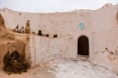 Traditional berber house in desert, Tunisia Royalty Free Stock Photography