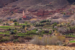 Traditional berber village in Atlas Mountains. Morocco, Africa royalty free stock image