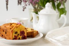 Traditional berry fruits pound cake for breakfast. On a table stock photo