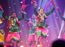 Traditional bhangra dance, Mystic India show at Bahrain Stock Images