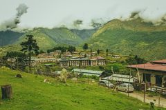 Traditional Bhutanese architectures in a village near Punakha, Bhutan. South Asia Royalty Free Stock Image